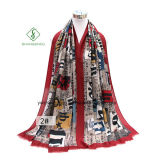 Fashion Letters Printing Thick Satin Lady Scarf Shawl Factory