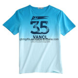 100% Customized Wholesale Pima Cotton Blue T-Shirt