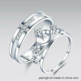Diamond Heart Crown and Cross Lovers Rings