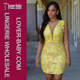 Girls Yellow Lace Club Dress Wear (L28017-1)