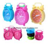 Multi-Color House Decoration Children Silicone Mini Alarm Clock Twin Bell Clock