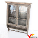 Antique Vintage Brown Hanging Decorative Wooden Wall Cabinet