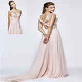 Ruffled Beading Chiffon A Line Evening Dress