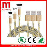 Micro Data Charger Cable Mobile Phone USB Data Cable Smartphone Cable--Gold with Gray