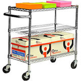 Adjustable Stainessless Steel Chrome Store Push Cart