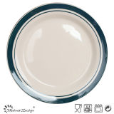 10.5inch Stoneware Hand Painting with Rim Dinner Plate