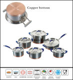 Kitchenware 12PCS Copper Base Cookware Set Impact Bottom Cookware