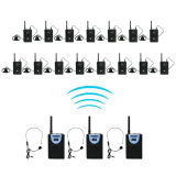 2.4GHz Wireless Audio Tour Guide System Interpretation Device for Teaching, Simultaneous Translation, Meeting, Museum Visiting, 3 Transmitter15 Receiver