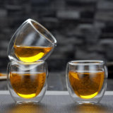 80ml Double Wall Tea Cup and Saucer Coffee Cup Glass Tea Set Cup