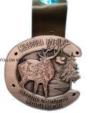 Sport Award Medal, Antique Silver Plated, Die Casting, Deer Logo