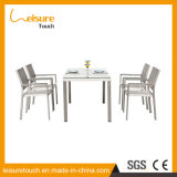 Rural Style Four People Brushed Aluminum Grey Textilene Tempered Glass Chair Table Set