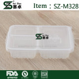 Clear Rectangular Plastic Food Container with 3 Compartment