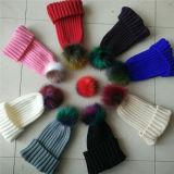 Stylish POM POM Winter Knit Hats Natural Real Raccoon Hats