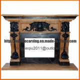 Indoor Fireplace with Yellow and Dark Emperador Marble Mf1719