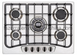 Stainless Steel Panel Five Burner Built in Gas Hob Home Cookware with Iron Pan Support