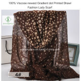 100% Viscose Newest Gradient DOT Printed Shawl Fashion Lady Scarf