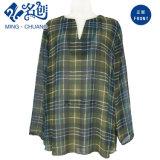 Green V-Neckline Loose Plaid Long Sleeve Ladies Blouse