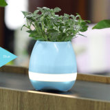 Touching Musical Plant Pot Bluetooth Speaker with LED Light
