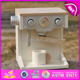 2017 Wholesale Baby Wooden Coffee Maker Toy, New Design Kids Wooden Coffee Maker Toy, Best Children Wooden Coffee Maker W10d134