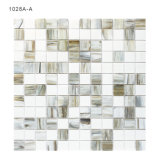 Interior Bathroom Wall White and Greay Glass Mosaic Tile