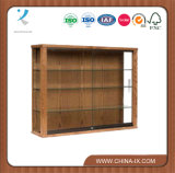 Wooden Rectangular Wall Mounted Display Stand with Sliding Door