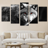 HD Printed 5 Piece Canvas Art Red Eye Wolf Painting 2017 New Wall Canvas Art Framed Artwork