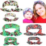 Parent-Child Toddler Girls Elastic Headbands Bunny Ears Hairband Flower Hair