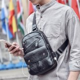 Men′s Chest PU Handbag Sling Crossbody Bag with USB Connector