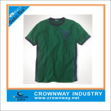 Wholesale Embroidered Green Cotton Short Sleeves T-Shirt for Men