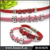 Alloy Slide Greek Letter Charm Leather Bracelet with Magnetic Clasp