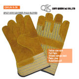 K-38 Yellow Split Cow Full Palm Liner Rubberized Cuff Canvas Back Leather Working Safety Gloves