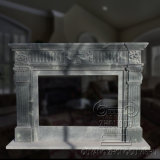Geart Qauality Hand Carved Green Color Classic Design Natural Marble Fireplace