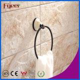 Fyeer Ceramic Base Black Bathroom Accessory Brass Towel Ring