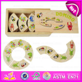 2015 New Product Domino Game Play Set for Kids, Colored Domino Game for Children, Christmas Gift Wooden Domino Game Toy W15A010A