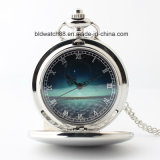 Classic Silver Tone Plain Pocket Watch with Photo Dial