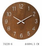 Anti-Brown Cut-out Wooden Hanging Round Clock for Home Decoration