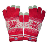 Jacquard iPhone Touchscreen Knitted Glove with Snowflake (JRAC056)