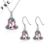 Wholesale Christmas Gift Jingle Bell Necklace Earring Jewelry Set