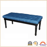 Tufted Wooden Ottoman Bench, Navy Blue Fabric with Buttons