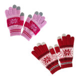 Jacquard iPhone Touchscreen Knitted Glove with Snowflake (JRAC042)