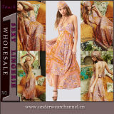 Wholesale Youth Cheap Summer Sleeveless Print Floral Sweet Beach Dress (TMD671)