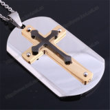 Nice Stainless Steel Dog Tags/Custom Engraving Style Cross Pendant (IO-st247)