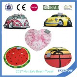 Printed Round Beach Towel with Inflatable Pillow Package
