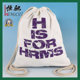 High Quality Cotton Canvas Travel Drawstring Backpack with Advertising Printing