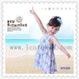 Simple Design Floral Print Girls Dress for Spring and Summer