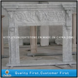 Carved Bianco Carrara White Marble Stone Fireplace Mantel