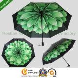 New Items Custom Printed Flower UV 3 Fold Umbrella (FU-3821C)