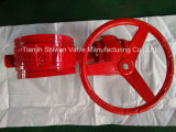 Red Groove End Butterfly Valve with Lever/Worm Gear