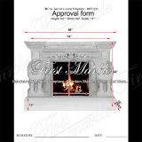 White Carrara Marble Lion Fireplace for Home Decoration Mfp-231