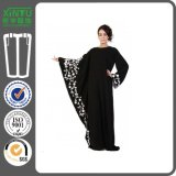 2016 Beautiful Dubai Styles Black Color Bat Sleeves Women Abaya Kaftans